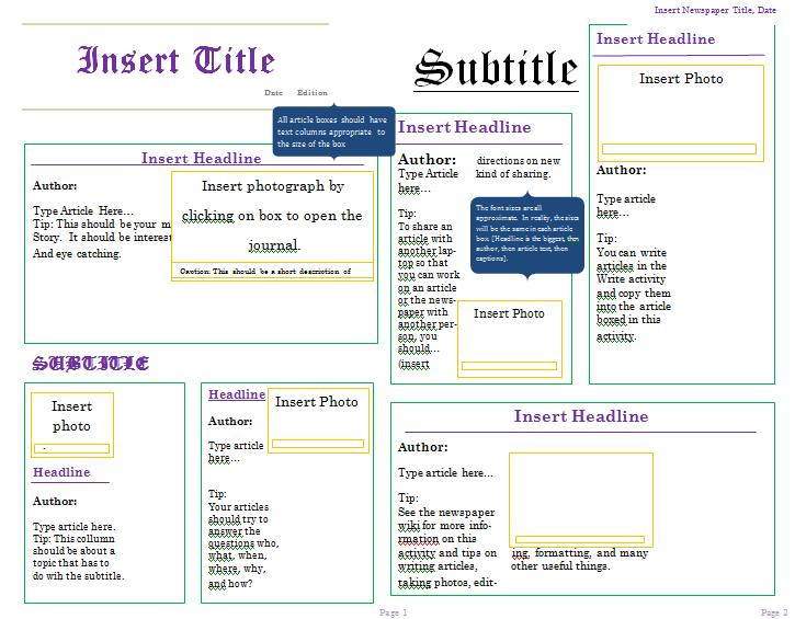 create your own newspaper template .